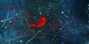 Winter Cardinal 16x30 Acrylic Painting By Laura Carter