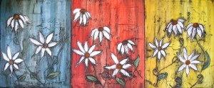 Neglected Garden 20x48 Triptych Painting By Laura Carter