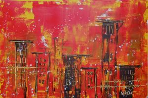 The Ruins II 20x30 Cityscape Painting By Laura Carter