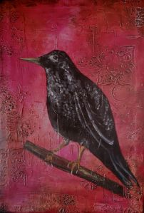 The Raven's Song 24x36 Mixed Media by Laura Carter