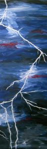 Lightening Bolt 16x48 Original Painting on Canvas by Laura Carter