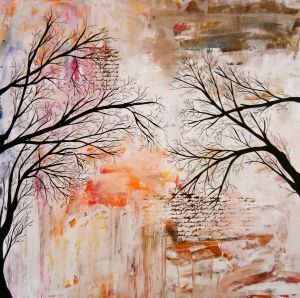 Tree Silhouette Painting Art Print by Laura Carter