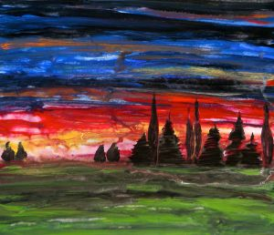 Sunset Landscape Original Painting on Canvas by Laura Carter