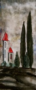 Tuscan Landscape - Acrylic on Canvas by Laura Carter